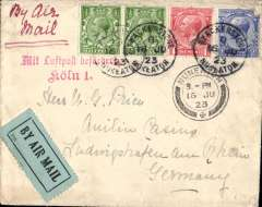 "(GB External) Daimler Airways, early airmail cover, Croydon to Lundingshafen, bs 19/6, plain cover correctly franked 1 1/2d + 3d air fee, canc Nuneaton cds, red two line ""Mit Luftpost befצrdert/Koln 1"" airmail arrival mark, ms ""By Air Mail "". The Hamburg extension was opened on 1/5/1923, and was maintained by Daimler until its amalgamation into Imperial Airways on 31/3/1924, see British Airways, An Airline and Its Aircraft, Vol 1; 1919-1939, The Imperial Years, R.E.G Davies, 2005, p12. A scarce item in fine condition."