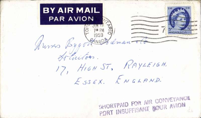 (Canada) Toronto to UK, no arrival cds, plain cover franked 5c, black two line 'Shortpaid for Air Conveyance', tied dark blue/white