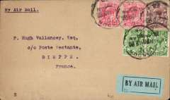 "(GB External) Early cover flown London to Paris, bs 18/9, franked 4 1/2d (2d air reduced rate + 2 1/2d postage) canc 'London/?R/?16 Sep/20' cds, typed ""By Air Mail"", black on blue airmail etiquette. Carried by Handley Page Transport or Instone Airlines, or possibly Airco which provided a special airmail service during the General Strike between 29September and 6 October 1920. A nice precursor to Imperial Airways which entered the European network on 1/5/1924."