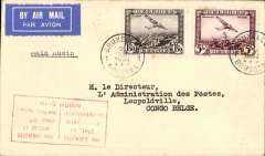 (Belgium) Raid Rubin record flight in DH Comet by Waller & Franchome, from Belgium-Congo in 22hrs, Brussels to Leopoldville, bs 22/12, boxed red special flight cachet, plain cover franked 6F50, typed 'Raid Rubin' cachet.