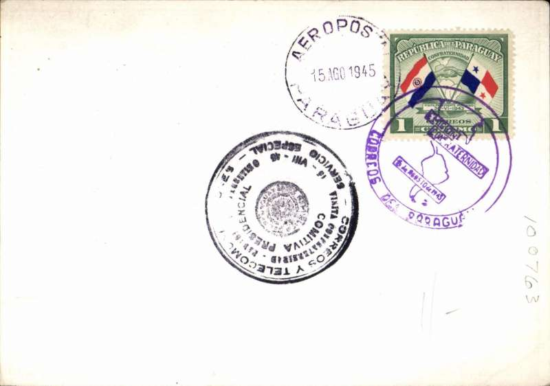 (Paraguay) Paraguay Fellowship Congress 1945, multicoloured  Souvenir PPC canc Paraguay/Aerpost cds and special Congress cachet.Small scuff on bottom edge of picture side.