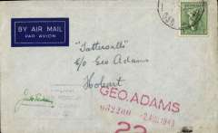 (Papua and New Guinea) Airmail sent from Australian Armed Forces serving in Paua to Hobart, imprint airmail etiquette cover franked Australia 4d, canc *****035**(? Morotai), violet framed 'Australian MIlitary Forces/Passed By Censor/3996' signed censor mark. During WWII Australian Forces serving ib Paua were allowed to use Australian stamps.