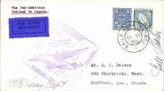 (Ireland) Pan Am FAM 18 F/F Foynes-Shediac, bs 1/7, plain cover, Foynes purple departue cachet on front, airmail etiquette, signed by the pilot Capt. Harold Grey, and Bill ?Haley.