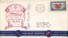 (United States) Pan Am FAM 18 F/F New York-Shediac, bs 24/6, magenta official cachet on front, dark blue/whie/red 'TransAtlanticFirst Flight' souvenir cover, signed by pilot Capt. Harold Grey.