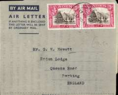 (Aden) Aden to England airletter franked KGVI  3a x2.