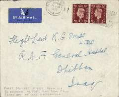 (GB External) Engand to Iraq, Plymouth to Dhibban, bs 19/1, airmail etiquette cover franked 3d addressed to the RAF General Hospital at Dhibban. RAF Dhibban was a Royal Air Force station at Habbaniyah, about 55 miles  west of Baghdad near Lake Habbaniyah where the Imperial Airways flying boats landed.