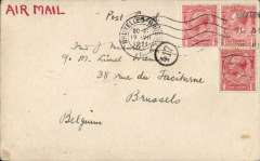 "(GB External) F/F London to Brussels, Handley Page Transport, 19 VII 1920 arrival ds on front, plain PC franked 2d airmail fee + 1d postage (for [postcards) cancelled with Brixton machine cancellation of 18 Jul, ms 'Air Mail' in red, black '417' in circle (Brussels PO mark). The first airmail service to Belgium,  Newall 420u. Addressed to Fred Melville, the famous British philatelist, with the following note ""Just a line to greet you by the first air post service between London and Brussels............."".  Flown postcards are much scarcer than flown covers. A rare item with a great provenance."