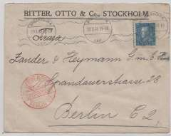 (Sweden) Stockholm to Berlin, red dr Berlin C2 arrval hs on front, printd commercial cover frankked 25o.