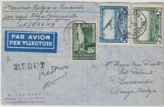 (Belgium) F/F Air Afrique, Brussels to Lusambo, bs, via Leopoldville 7/3, Van Reet cover carried on the first regular F/F Air Afrique fortnightly service from Algeria to Brazzaville (across the river from Leopoldville) via Marseilles-Alger-El Golea-Gao-Fort Lamy-Bangui-Coquilhatville, then by SABENA internal service to Lusambo, franked Belgium2F85. Exhibition quality cover written up on display page.