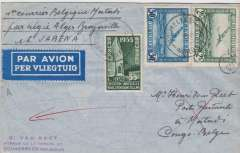 (Belgium) F/F Air Afrique, Brussels to Matadi, bs 8/3 via Leopoldville 7/3, Van Reet cover carried on the first regular F/F Air Afrique fortnightly service from Algeria to Brazzaville (across the river from Leopoldville) via Marseilles-Alger-El Golea-Gao-Fort Lamy-Bangui-Coquilhatville, then by SABENA internal service to Matadi, franked Belgium 2F85. Exhibition quality cover written up on display page.