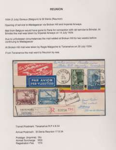 (Belgium) Rare acceptance for Reunion for carriage on the opening service to Madagascar via Broken Hill and Imperial Aireays, Esneux, Belgium to St. Dennis 17/8, via Tananarive P 4/8, registered (label) red/white imprint airmail etiquette cover correctly franked 35c postage, 5F50 air surcharge and 1F75 registration. Exhibition quality cover written up on display page.