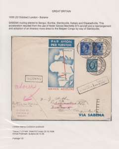 (GB External) Great Britain acceptance for Bukama (Congo), bs 29/10, for carriage by the first accelerated Sabena service from Belgium to the Belgian Congo, London to Stanleyville, via Paris 23/10, red/white/blue souvenir cover with map of route, 1/3d two reign franking inc KEVII 2 1/2d x2 and KGV 10d, canc special 'Stamp Exhibition/London 1936/ 22 Oct'. This acceleration resulted from use of a faster Savoia Machetta S73 plane and the adoption of a more direct route to the Congo via Stanleyville. .Exhibition quality cover written up on display page.