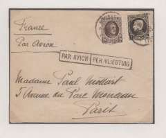 (Belgium) Early airmail, Brussels to Paris, bs 5/2, plain cover franked 1F20, ms 'France/Par Avion', black framed 'Par Avion/Per Vliegtuig' hs. .Exhibition quality cover written up on display page.