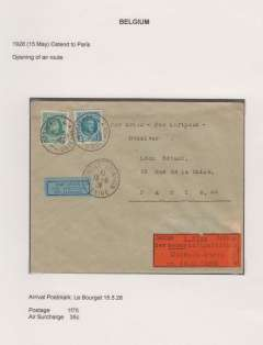 "(Belgium) Unlisted inaugural flight Ostende to Paris, Bourget Aviation 15.5.28 arrival cds on front, plain cover franked 2F10 canc Ostende 15.5.1928 tying trilingual black/blue airmail etiquette, black/orange First Flight Premier Vol/1. Flug/der neuen Luftpostlinie/Ostende-Paris/am 15.5.1928"". Exhibition quality cover written up on display page."