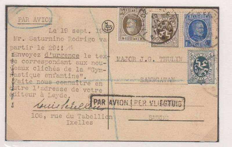 (Belgium) Belgium to Sweden, Ixelles to Malmo, bs Luftpost 20/9, B&W PPC showing Tomb of Unknown Soldier, franked 1f postage (postcard rate) + 2F50 airmail surcharge, boxed bilingual 'Par Avion/Per Vliegtuig' hs. Likely flown by LIgnes Farman.