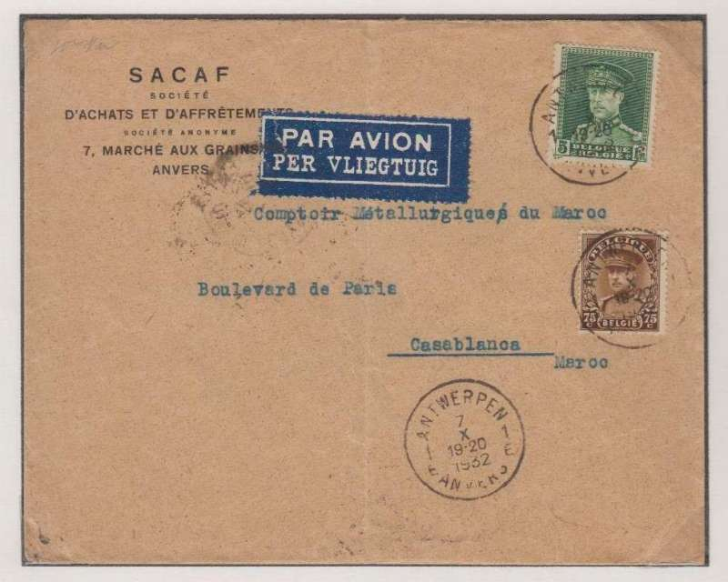 (Belgium) Antwerp to Casablanca, bs 9/10, company corner cover franked 1F75 overseas postage + 4F (20g) air surcharge, dark blue/white bilingual airmail etiquette.