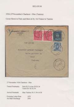 (Belgium) Belgium to Tunisia, bs Sfax Tunisie 30/11, via Paris RP Avion 28/11, commercial corner cover franked 1F25 overseas letter rate + 2F50 airmail surcharge. Exhibition quality cover written up on display page.