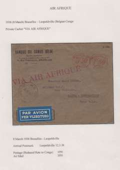 "(Belgium) Air Afrique, Brussels to Leopoldville, bs 12/3, bank corner cover, red meter postmark 1F50 postage (reduced to Congo) and 3F50 air mail surcharge, large red ""Via Air Afrique"" hs, blue/white airmail etiquette. Exhibition quality cover written up on display page."