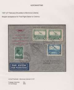 (Belgium) Belgium to Liberia, Brussels to Monrovia, bs 2/3, Belgium acceptance for carriage on the  Air France/Aeromaritime F/F Dakar to Cotonau, Dahomey,  black diamond cachet, printed souvenir cover franked 35c postage and 4F50 air surcharge. Exhibition quality cover written up on display page.