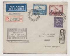 (Belgium) Belgium acceptance for French Sudan, Brussels to Mopti, bs 22/2, for carriage on the Air Afrique  F/F Alger-Gao-Bamako, reg (label) cover franked 6F50, black six line flight cachet, blue/black bilingual airmail etiquette.       Exhibition quality cover written up on display page.