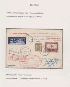 (Belgium) Belgium acceptance for French Sudan, Brussels to Timbouctu, bs 22/2, for carriage on the Air Afrique  F/F Alger-Gao-Timbouctu- Bamako service, reg (label) cover franked 5F10, red oval 'Alger'Gao'Bamako' flight cachet, blue/black bilingual airmail etiquette. Exhibition quality cover written up on display page.
