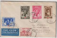 (Belgium) Belgium acceptance for Pan American F/F Marseille, bs 24/5 to New York, bs 27/5, plain cover franked 1F75 postage and 4F air surcharge, fine strike red flight cachet verso, blue/white airmail etiquette. Exhibition quality cover written up on display page.