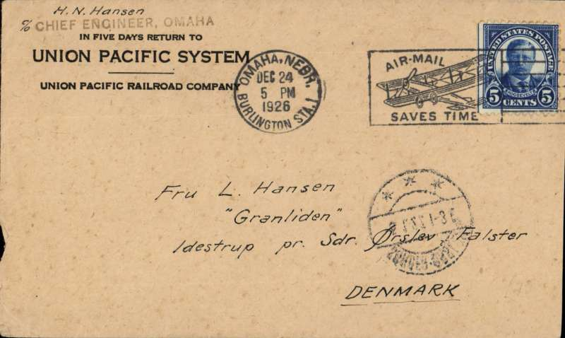 (United States) Early airmail, Omaha, Nebraska to Denmark, bs Sonder Falster 5/1/1927, Union Pacific  corner cover franked 5c postmarked 'Omaha/Dec 24 1926/Airmail Saves time' machine cancel