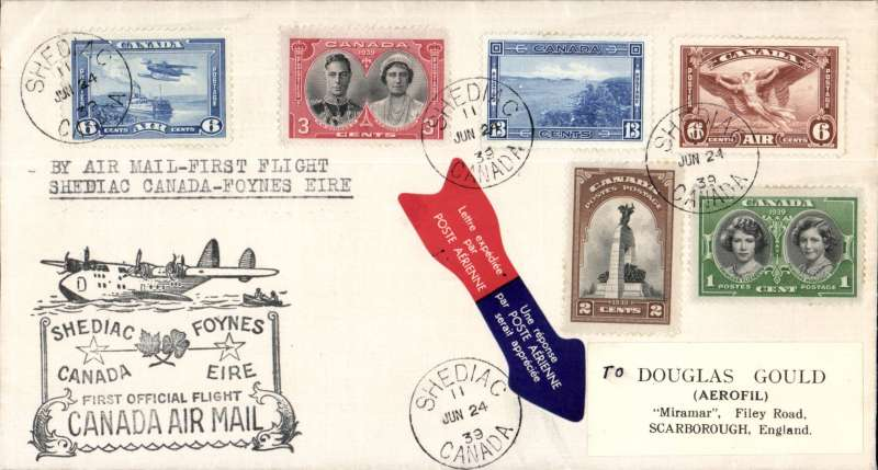 (Canada) Pan Am FAM 18 F/F Shediac-Foynes, arrival hs 30/6, official black cachet on front, plain cover, attractive franking, nice array of blue/red airmail etiquettes front and verso. Attrctive item.
