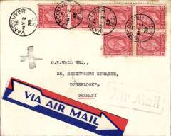 (Canada) Rarely seen small black cross directional handstamp appiled in Rhineland 1935, see McQueen Airmail Directional Handstamps, p95, on plain cover Vancouver to Dusseldorf, violey Vancouver ,Air Mail' hs, red/white/blue Via Airmail 'Arrow' etiquette.