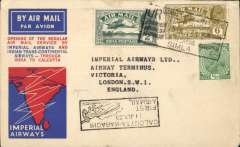 (India) F/F Calcutta to London, no arrival ds, flown IW 223, the first westbound service after extension of route from Karachi to Calcutta (see Wingent), black boxed Calcutta-Karachi/11 Jly 33 cachet on front, official three colour souvenir map cover, India Trans-Continental Airways/Imperial Airways, small mail.