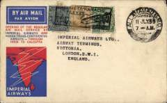 (India) First flight, IAW/IATCA Allahabad to London, red/blue/wjite souvenir cover franked 3p, 1/2a/6a canc double ring Allahabad GPO cds, black rectangular 'Cacutta-Karachi/11 Jly 33/First Air Mail' hs.