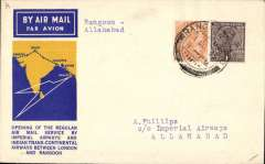 (Burma) Imperial Airways, Rangoon to Allahabad, bs 3/10, official yellow/blue/cream souvenir 'map' cover, franked 1a, 2a6p, violet binocular shaped cachet verso. The first mails from England to Burma left Croydon on 23 September 1933. At Cairo they were transferred to an Imperial Airways Hannibal class airliner for the flight to Karachi via the Arabian halts. From there they were carried by Indian Trans-Continental Airways? Arethusa G-ABPI to Rangoon via Akyab. The flight added 700 miles to the England-Australia chain. The return flight, by the airliner Athena G-ABTK left Rangoon at 7am on 2 October 1933, connecting with Imperial Airways at Karachi on 4 October (ref Brown J, Indian Air Mails, 1995, and Wingent P, 1999). Small mail, Newall 33.18 c1, 60 units.