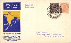 (Burma) Imperial Airways, Rangoon to Cawnpore, bs 3/10, official yellow/blue/cream souvenir 'map' cover, franked 3a 6p, violet binocular shaped cachet verso. The first mails from England to Burma left Croydon on 23 September 1933. At Cairo they were transferred to an Imperial Airways Hannibal class airliner for the flight to Karachi via the Arabian halts. From there they were carried by Indian Trans-Continental Airways' Arethusa G-ABPI to Rangoon via Akyab. The flight added 700 miles to the England-Australia chain. The return flight, by the airliner Athena G-ABTK left Rangoon at 7am on 2 October 1933, connecting with Imperial Airways at Karachi on 4 October (ref Brown J, Indian Air Mails, 1995, and Wingent P, 1999). Very small mail.