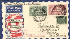 """(Burma) First acceptance of S. Rhodesia mail from Burma, Rangoon to Salisbury, bs 10/11, carried on Air Orient or KLM F/F from Rangoon (see Brown, Indian Air Mails), then Imperial Airways Eastern and African services to Salisbury, ms """"Burma-Calcutta-India-Rhodesia"""", attractive Philatelic Magazine cover, Air Orient/Imperial Airways."""