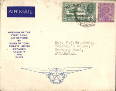(India) Indian National Airways Ltd, Dacca to Allahabad, bs 2/12, via Calcutta 1/12, carried on India National Airways first Calcutta-Dacca daily air service, official blue/cream souvenir covers bearing INA insignia 'The Star of India with wings', franked 3anna 3p. The Calcutta-Dacca service ceased operation on 16 June 1935 and the Calcutta-Rangoon on 9 August 1935. Few light top edge tone spots.