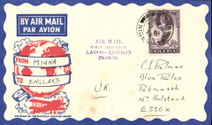 (Nigeria) West African Feeder Service extended from Lagos, first acceptance for England from Minna, via Kano 29/10, attractive Philatelic magazine cover, Imperial Airways.
