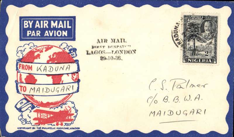 (Nigeria) West African Feeder Service , F/F Kaduna-Maidugari, bs, attractive Philatelic magazine cover, Imperial Airways.
