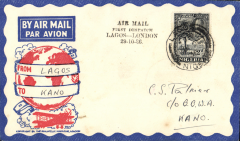 (Nigeria) West African Feeder Service , F/F Lagos-Kano, bs, attractive Philatelic magazine cover, Imperial Airways.