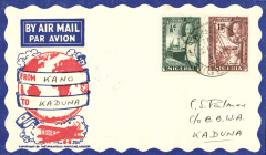 (Nigeria) West African Feeder Service , F/F Kano-Kaduna, bs, attractive Philatelic magazine cover, Imperial Airways.