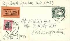 """(South Africa) F/F  Regular Airmail Service in South Africa,  Port Elizabeth - Bloemfontain, no arrival ds,  """"Per First Flight"""" and """"Per Air Mail-Lugpos"""" cachets, plain cover franked 5d."""