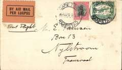 "(South Africa) F/F  Regular Airmail Service in South Africa, Cape Town to Nylstrom, Transvaal, no arrival ds,  ""Per Air Mail-Lugpos"" cachets, plain cover frankeed 5d.."