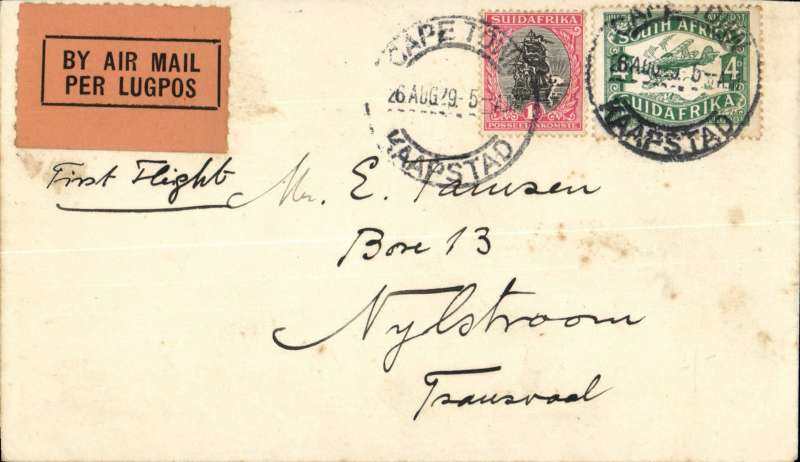"""(South Africa) F/F  Regular Airmail Service in South Africa, Cape Town to Nylstrom, Transvaal, no arrival ds,  """"Per Air Mail-Lugpos"""" cachets, plain cover frankeed 5d.."""