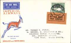 (South Africa) Cover flown, Kimberley to Cape Town 21/12, on First Christmas Flight, b/s, Bk on orange per lugpos etiq, Springbok cover, Imperial Airways