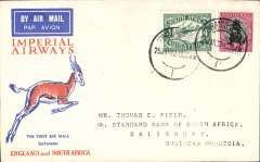 (South Africa) Johannesburg to Salisbury, Southern Rhodesia, bs, carried on F/F Regular Service Cape Town/Croydon, Springbok cover, Imperial Airways