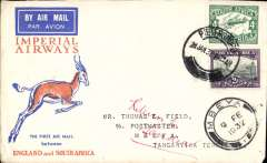 (South Africa) Interrupted flight Pietersburg to Mbeya, bs 6/2, carried on first regular flight Cape Town-London, left Cape Town January 27 but  forced down at Broken Hill, Northern Rhodesia, delayed 7 days, Springbok cover, Imperial Airways.
