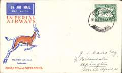 (South Africa) Pietersburg to Upington, bs, carried on F/F Regular Service Cape Town/Croydon, Springbok cover, Imperial Airways