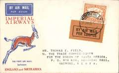 (South Africa) Interrupted flight Kimberley to Nairobi, bs 7/2, carried on first regular flight Cape Town-London, left Cape Town January 27 but  forced down at Broken Hill, Northern Rhodesia, delayed 7 days, Springbok cover, Imperial Airways.