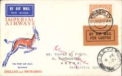 (South Africa) Interrupted flight Kimberley to Mbeya, bs 6/2, carried on first regular flight Cape Town-London, left Cape Town January 27 but  forced down at Broken Hill, Northern Rhodesia, delayed 7 days, Springbok cover, Imperial Airways.