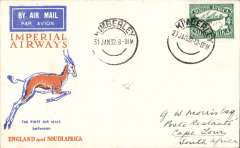 (South Africa) Kimberley to Cape Town, carried on F/F Regular Service Cape Town/Croydon, b/s ,Springbok cover, Imperial Airways