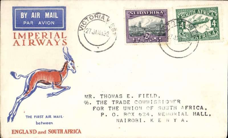 (South Africa) Interrupted flight Victoria West to Nairobi, bs 7/2, carried on first regular flight Cape Town-London, left Cape Town January 27 but forced down at Broken Hill, Northern Rhodesia, delayed 7 days, Springbok cover, Imperial Airways.